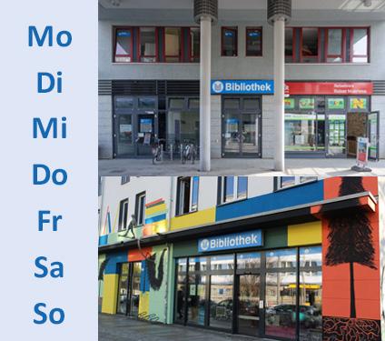 Grafik mit Außenansichten der Bibliotheken Neustadt und Prohlis
