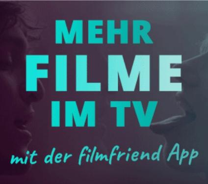 Banner mit dem Slogan: Mehr Filme im TV mit der filmfriend App